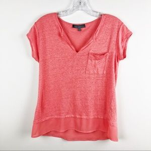 ANTHRO Sanctuary Coral Short Sleeve Tiered Top